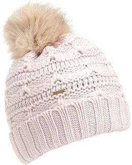 Serenity Cable Knit Pompom White Hat