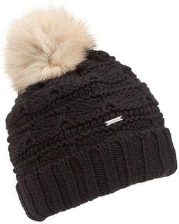 Serenity Fur-pompom Wool Beanie Hat