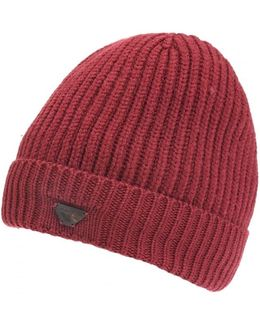 Ribbed Wool Logo Badge Bordeaux Beanie Hat
