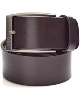 Tebe_sz40 Smooth Italian Brown Leather Belt