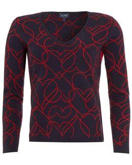 Navy Blue Jumper, Red Heart Print Sweater