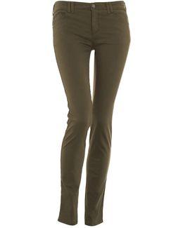J28 Mid Rise Skinny Moleskin Green Jeans