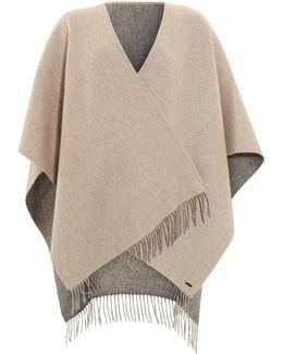 Reverse Bicoloured Woollen Grey Camel Poncho