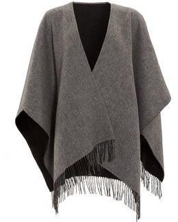 Reverse Bicoloured Woollen Black Grey Poncho