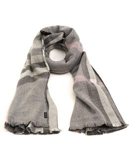 Reversible Classic Plaid Light Grey Pink Scarf