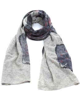 Floral Grey Pink Knitted Woollen Scarf