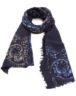 Ornament Edge Print Navy Blue Woollen Scarf