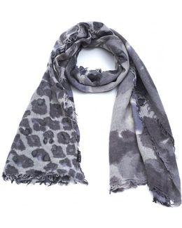 Animal Print Grey Wool Mix Scarf