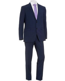 Small Check Suit, Two Button Blue Wool Suit