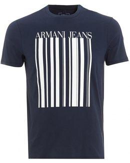 T-shirt, Barcode Logo Navy Blue Tee