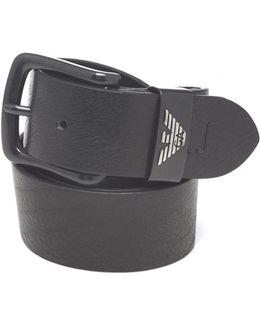 Black Grained Leather Belt