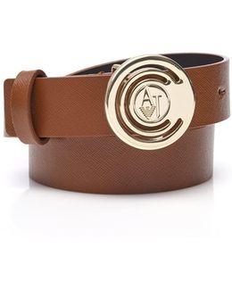Circle Aj Logo Buckle Tan Leather Belt