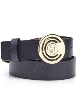 Circle Aj Logo Buckle Navy Leather Belt