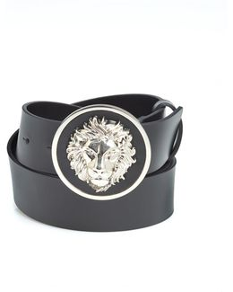 Silver Lion Head Black Leather Belt