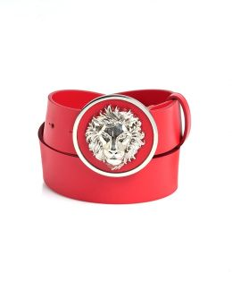 Silver Lion Head Red Leather Belt
