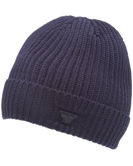 Navy Blue Chunky Wool Badge Beanie Hat