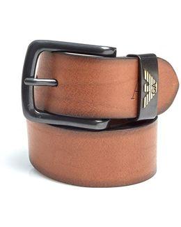 Cognac Brown Eagle Logo Leather Belt