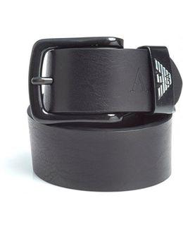 Black Brown Eagle Logo Leather Belt