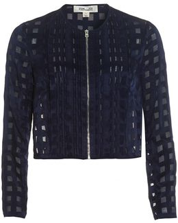 Cropped Square Print Midnight Blue Jacket
