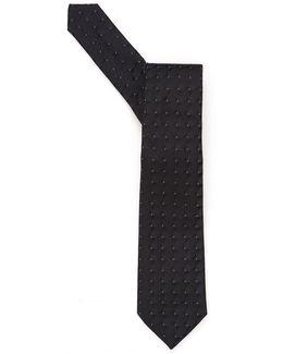 Tie, 3d Square Dot Silk Black Tie