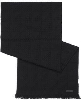 Waffle Knit Wool Black Scarf