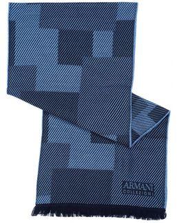 Diagonal Panel Wool Blue Scarf