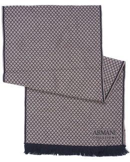 Small Diamond Print Beige Wool Scarf
