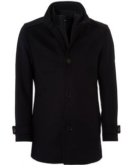 Camlow Coat, Navy Blue Wool Blend Carcoat Jacket
