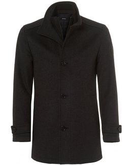 Camlow Coat, Charcoal Grey Wool Blend Carcoat Jacket
