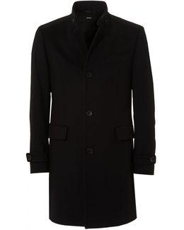 Sintrax2 Nehru Collar Wool Cashmere Black Coat