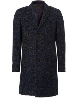 Nye Boucle Herringbone Blue Crombie Coat