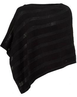 Cotton Angora Mix Tonal Panel Black Poncho