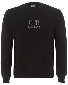 Black Regular Fit Logo Fleece Sweatshirt