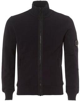 Navy Blue Sweatshirt, Zip Fleece Lens Detail Jumper