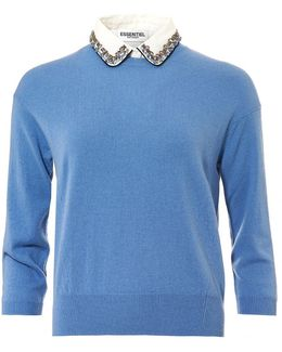 Ofisho Jumper, Jewelled Collar Grey Blue Sweater