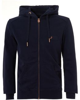 Navy Zip Hoodie, Metal Horseshoe Logo Badge Zip Sweater