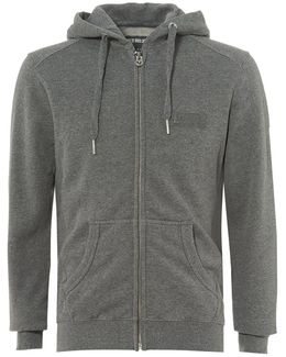 Dark Grey Zip Hoodie, Metal Horseshoe Logo Badge Zip Sweater