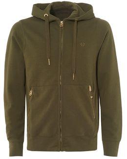 Khaki Green Fleece Gold Horseshoe Logo Zip Hoodie