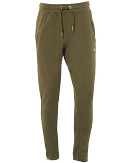 Khaki Green Trackpants, Cuffed Gold Horseshoe Logo Sweatpants
