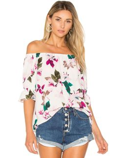 Off Shoulder Blouse With Smocked Sleeves