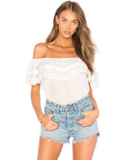 Off Shoulder Ruffle Top With Trim