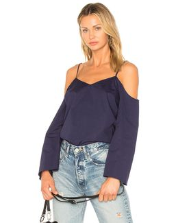Cold Shoulder Cascade Sleeve Blouse