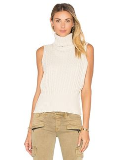 Cable Rib Sleeveless Crop Sweater