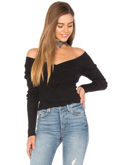 Rib Double V Criss Cross Sweater