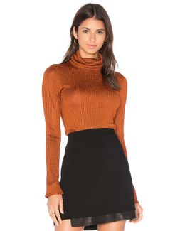 Billi Slim Turtleneck Sweater In Copper