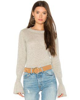 Ruffle Sleeve Crew Sweater