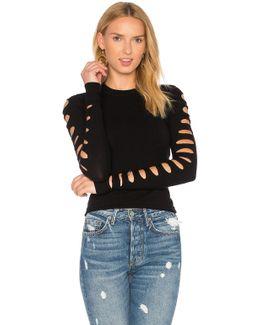 Slash Sleeve Cropped Sweater