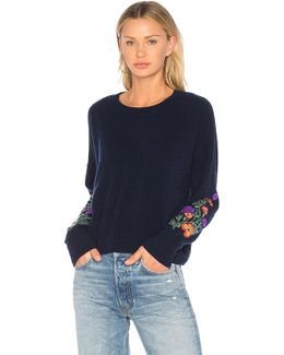 Embroidered Crop Sweater