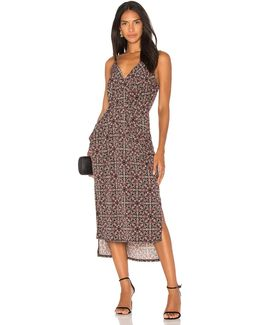 Midi Faux Wrap Dress In Black Olive