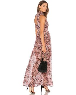 Smocked Neck Maxi Dress In Rose Bloom Combo